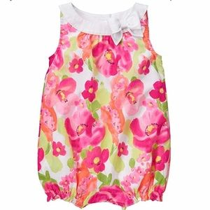 Pink Floral Baby Bubble Romper